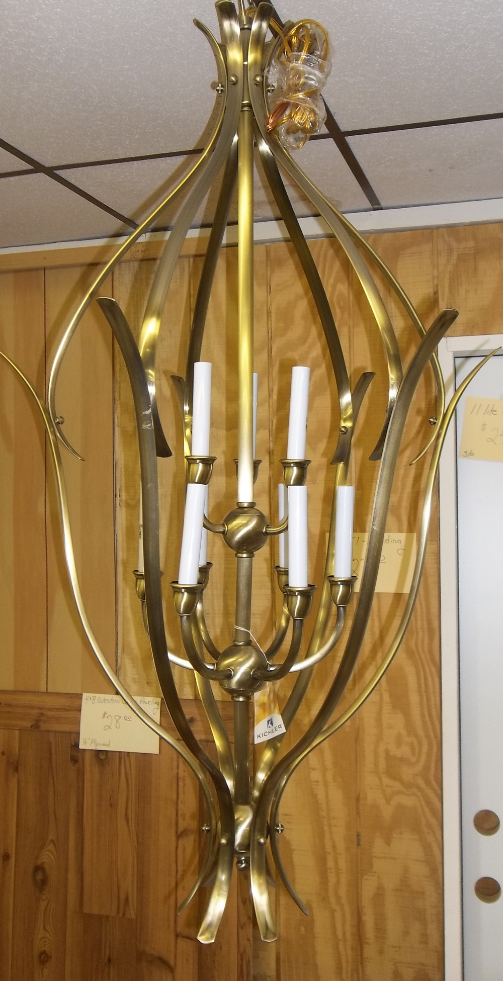 9 light Antique Brass finish $41.00