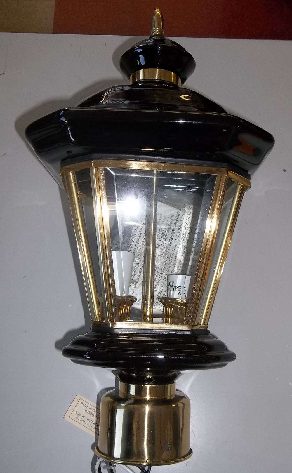 Black Porcelain & pol. brass Outdoor Post Light $35