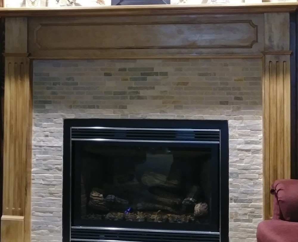 Mosaic Tile Around fireplace